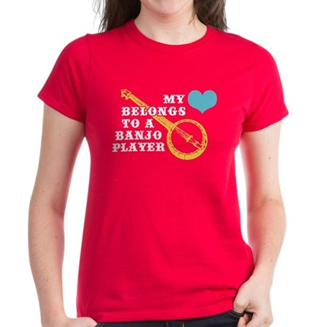 My Heart Belongs to a Banjo Player Women's Dark T-