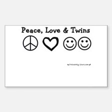 Peace, Love & Twins Rectangle Decal