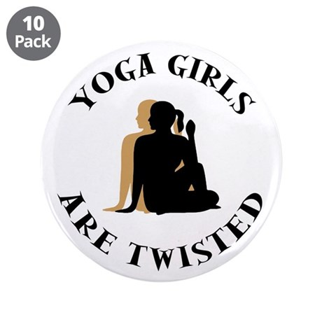 """Yoga Girls Get Twisted 3.5"""" Button (10 pack)"""