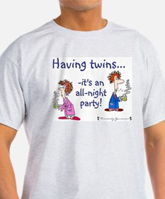 Having Twins - An All-Night P Ash Grey T-Shirt