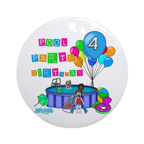 Pool Party 4th Birthday Ornament (Round)