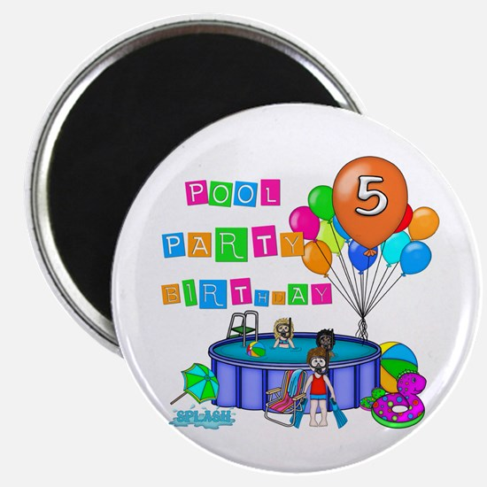 Pool Party 5th Birthday Magnet