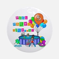 Pool Party 5th Birthday Ornament (Round)