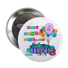 "Pool Party 9th Birthday 2.25"" Button"