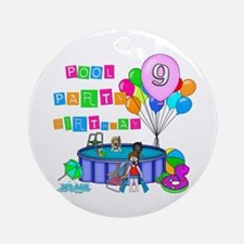 Pool Party 9th Birthday Ornament (Round)