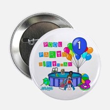 "Pool Party 1st Birthday 2.25"" Button"