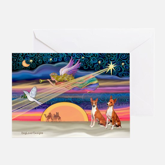XmasStar/2 Basenjis Greeting Card