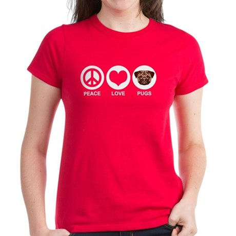Peace Love Pugs Women's Dark T-Shirt