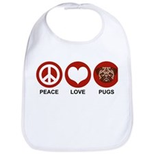 Peace Love Pugs Bib
