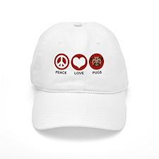Peace Love Pugs Baseball Cap