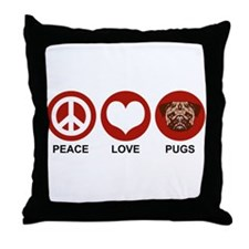 Peace Love Pugs Throw Pillow