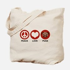 Peace Love Pugs Tote Bag