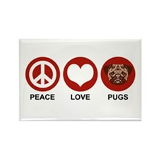 Peace Love Pugs Rectangle Magnet