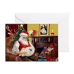 Santa's Pekingese (4W) Greeting Card