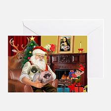 Santa's 2 Pekingese Greeting Card
