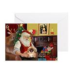 Santa's Pekingese (#1rd) Greeting Card