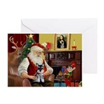 Santa's Schnauzer pup Greeting Cards (Pk of 10)
