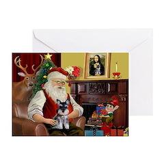 Santa's Schnauzer pup Greeting Cards (Pk of 10)