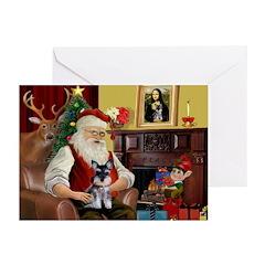 Santa's Schnauzer pup Greeting Cards (Pk of 20)