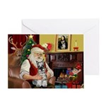 Santa's Mini Schnauzer Greeting Card
