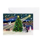 Xmas Magic & Schnauzer Pup Greeting Card
