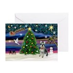 Xmas Magic & Schnauzer Greeting Card