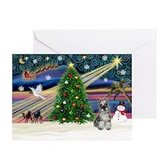 XmasMagic/Schnauzer 1C Greeting Cards (Pk of 10)