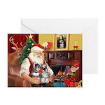 Santa's 2 Schnauzers Greeting Cards (Pk of 10)