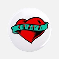 """Obama Heart Tattoo 3.5"""" Button (100 pack)"""