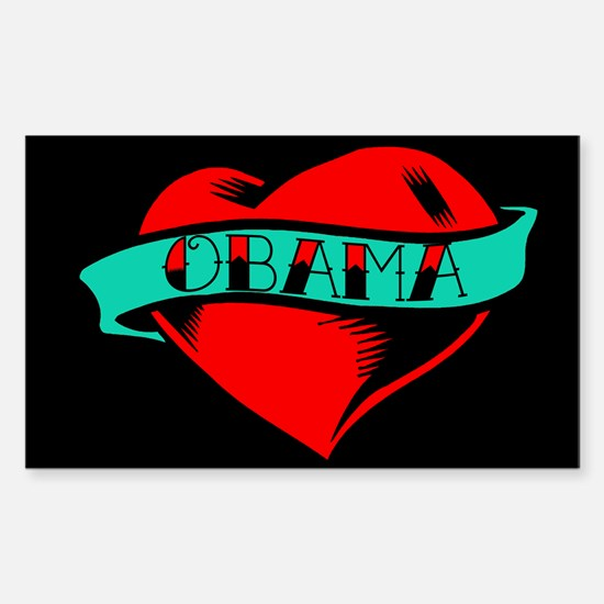 Obama Heart Tattoo Rectangle Decal