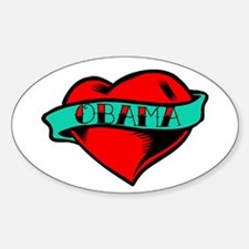 Obama Heart Tattoo Oval Decal