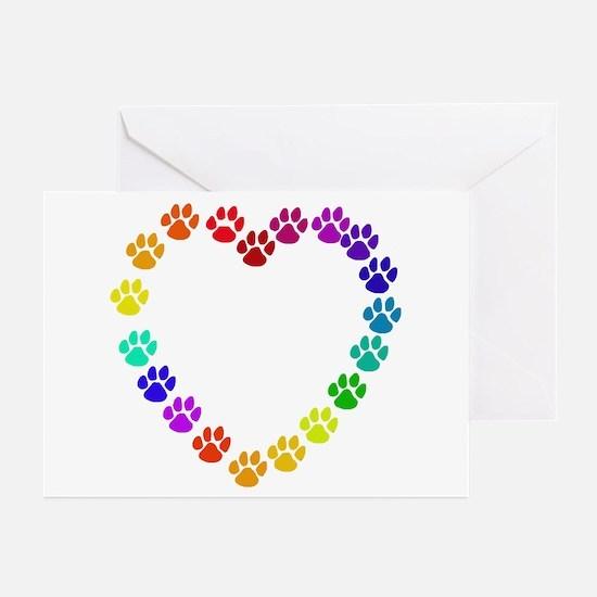 Cat Print Heart Greeting Cards (Pk of 10)