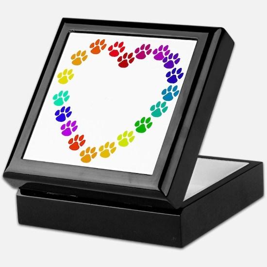Cat Print Heart Keepsake Box