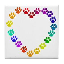 Cat Print Heart Tile Coaster