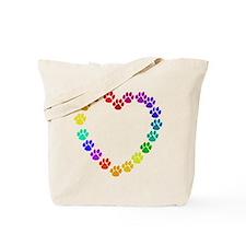 Cat Print Heart Tote Bag