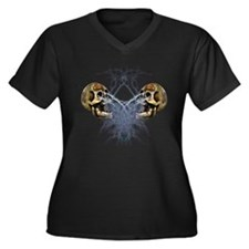 Dueling Skulls Women's Plus Size V-Neck Dark T-Shi