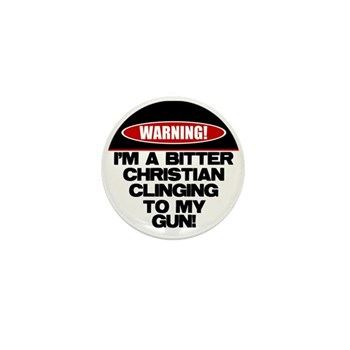 Warning: Christian with Gun Mini Button (100 pack)