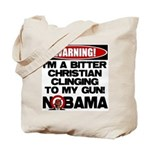 Warning: Christian with Gun Tote Bag