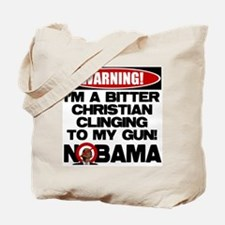 Warning: Christian with Gun Tote Bag