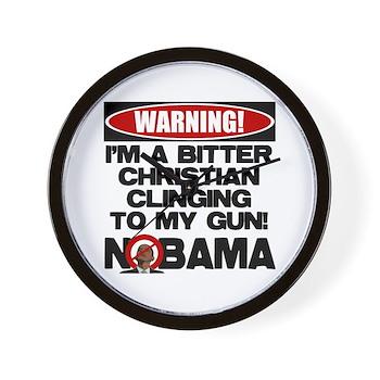 Warning: Christian with Gun Wall Clock