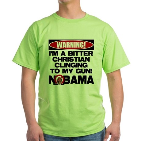 Warning: Christian with Gun Green T-Shirt