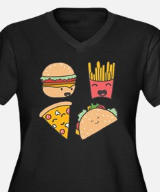 Cute Funny burger fries design Women's Plus Size V-Neck Dark T-Shirt