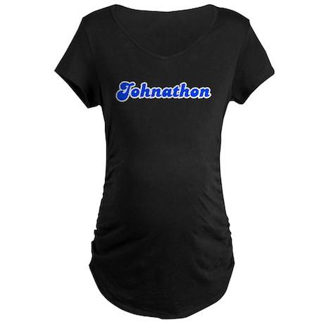 Retro Johnathon (Blue) Maternity Dark T-Shirt