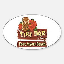Fort Myers Beach Tiki Bar - Oval Decal