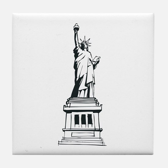 Hand Drawn Statue Of Liberty Tile Coaster