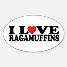 I Love Ragamuffins Oval Decal