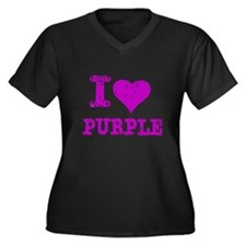 I Love Purple Women's Plus Size V-Neck Dark T-Shir