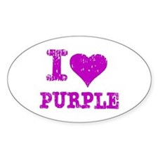 I Love Purple Oval Decal