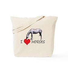 I Heart (Love) Horses Tote Bag