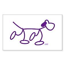 Stick Figure Doggie Rectangle Decal